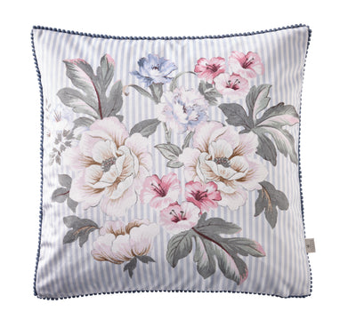 Oasis Designer 'Bailey' Floral Cushion | Baby Blue & White Stripe - Your 4 Walls