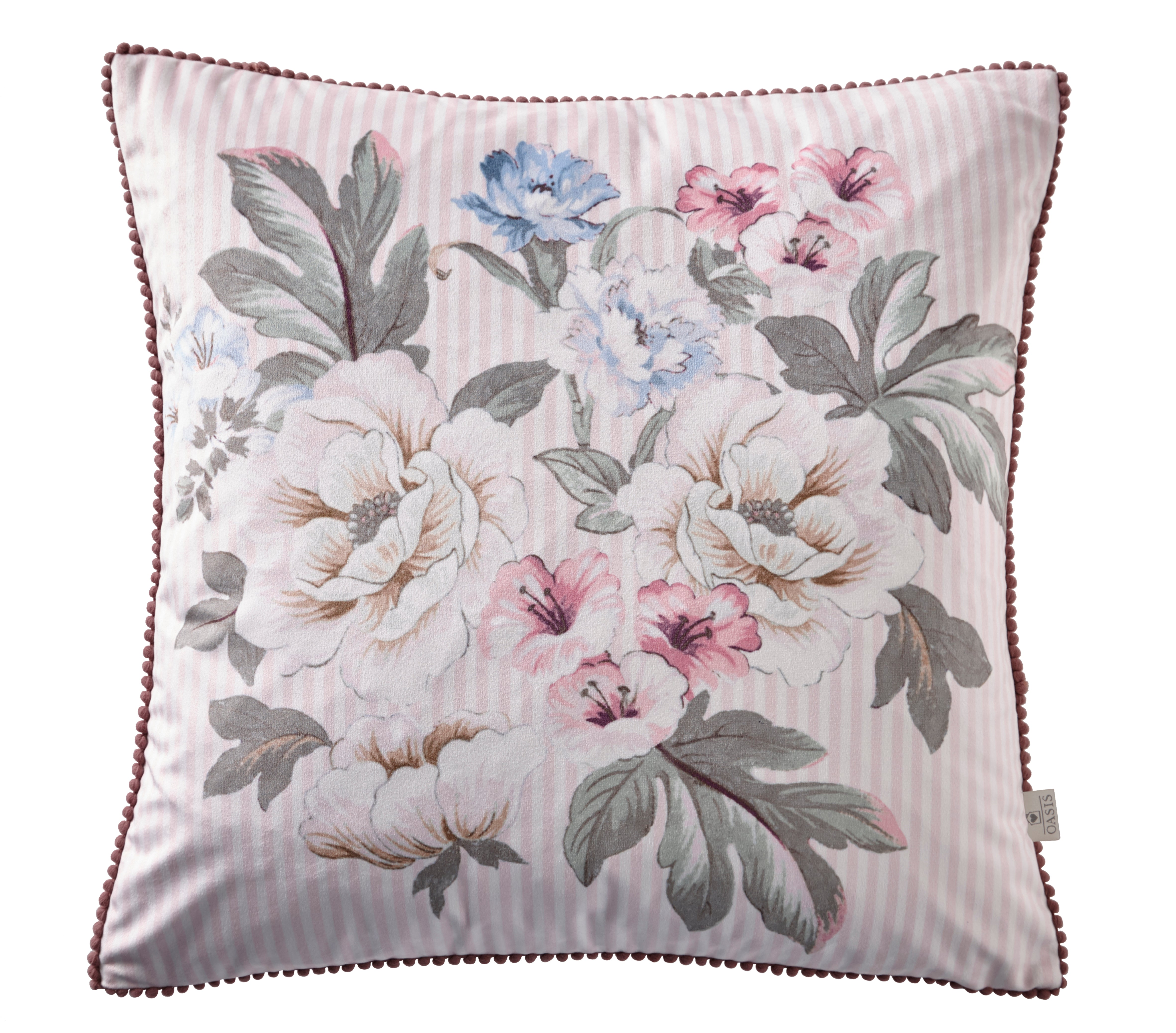 Oasis Designer 'Bailey' Floral Cushion | Blush Pink & White Stripe - Your 4 Walls