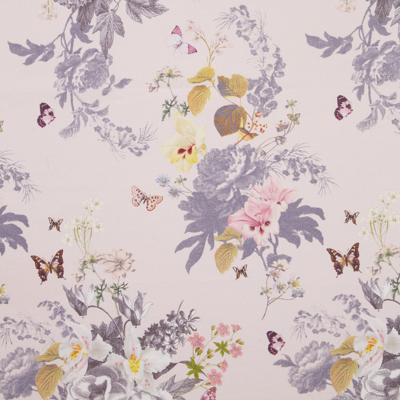 Botanical Oasis Designer Floral & Butterfly Wallpaper | Blush Pink White & Blue