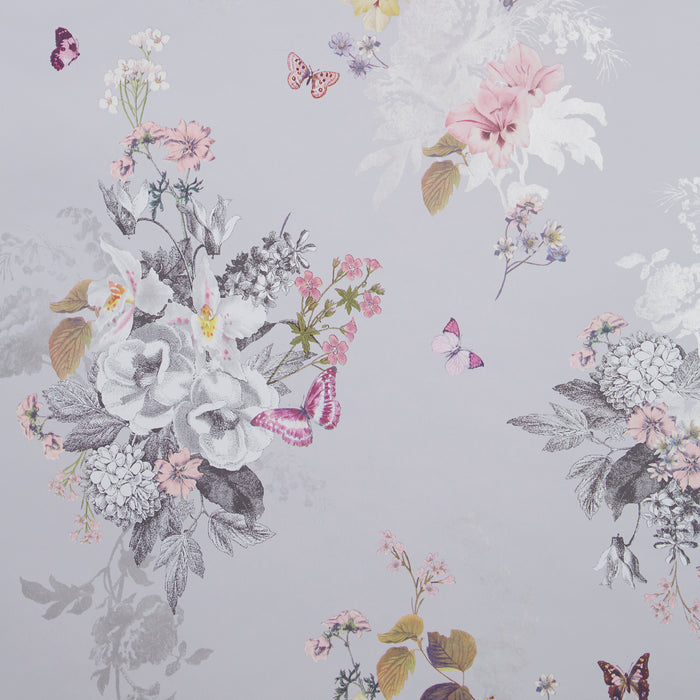 Botanical Oasis Designer Floral & Butterfly Wallpaper | Grey, Pink & White