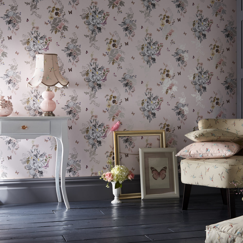 Botanical Oasis Designer Floral & Butterfly Wallpaper in Blush Pink & White - Your 4 Walls