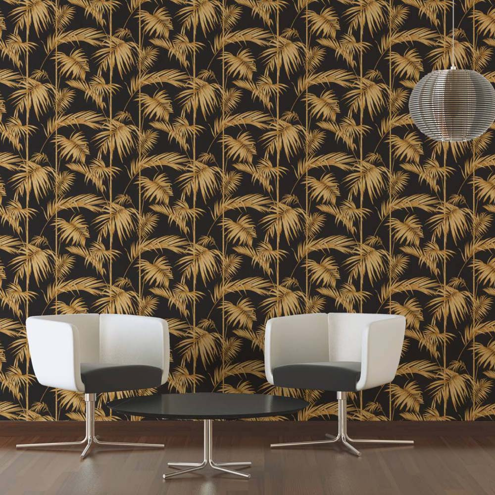 Bamboo Leaf Grass Design Wallpaper | Black, Yellow & Gold