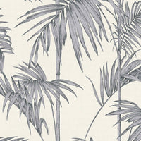 Bamboo Leaf Grass Design Wallpaper | Silver, Grey & Off White