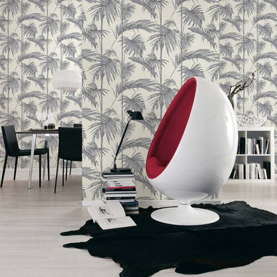 Bamboo Leaf Wallpaper in Silver, Grey and Off White - Your 4 Walls