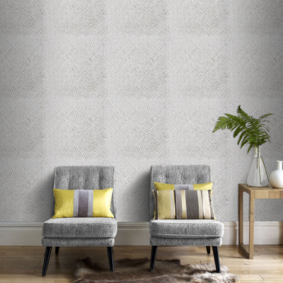 Scandi Basket Weave Effect Wallpaper | Beige/Grey & White