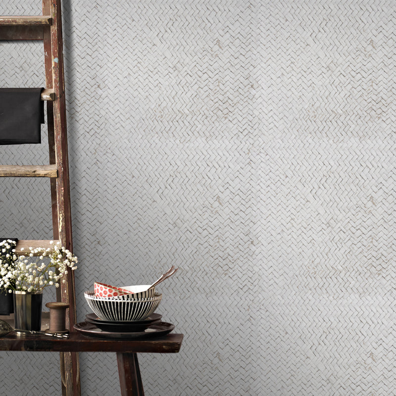 Scandi Basket Weave Effect Wallpaper | Beige/Grey & White 1 ROLL & SAMPLE ROLL (WITH APPROX 8M) - Your 4 Walls