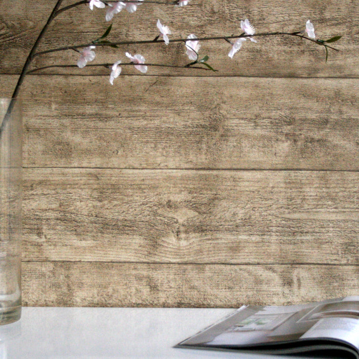Oak Wood Effect Textured Wallpaper | Beige