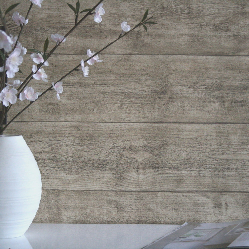 Oak Wood Effect Textured Wallpaper | Beige - Your 4 Walls