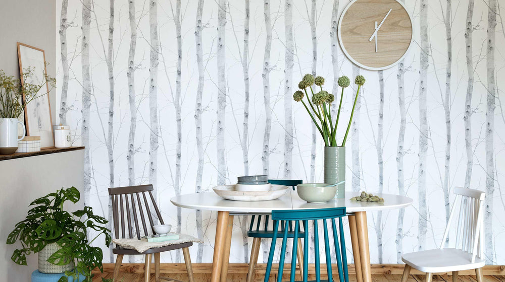 Birch Tree Wood Motif Wallpaper in White & Grey - Your 4 Walls