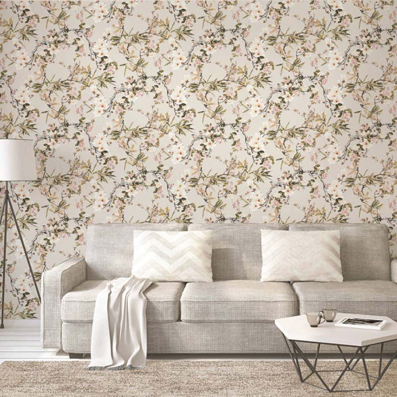 Birds on branches & Floral Wallpaper | Black, Green, Pink & Yellow