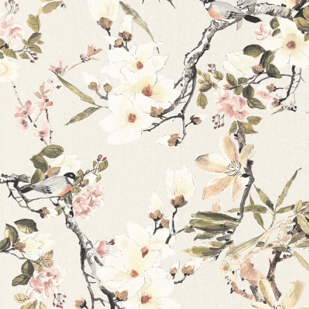 Birds On Branches Amp Floral Wallpaper In Black Green Pink