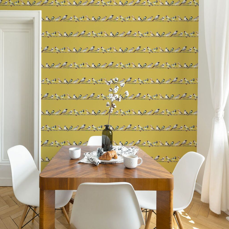 Chatting Birds Motif Wallpaper in Ochre Yellow - Your 4 Walls