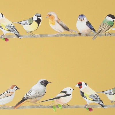 Chatting Birds Motif Wallpaper in Ochre Yellow