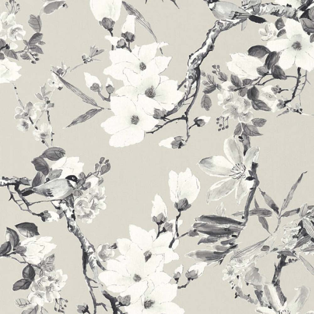 Birds on branches & Floral Wallpaper | Grey & White