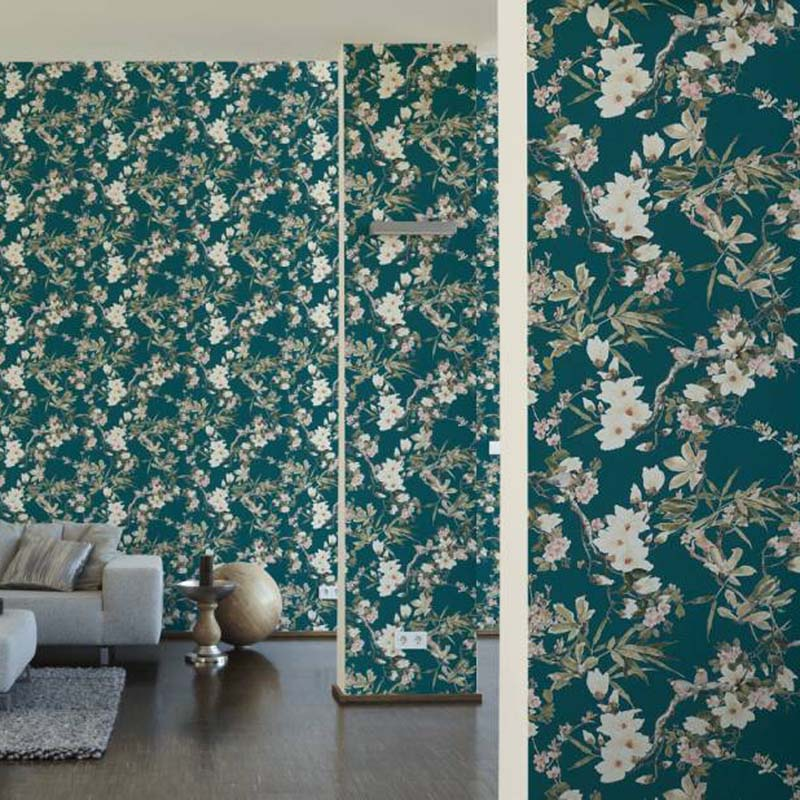 Birds on branches & Floral Wallpaper | Green, Pink, Taupe & Yellow - Your 4 Walls