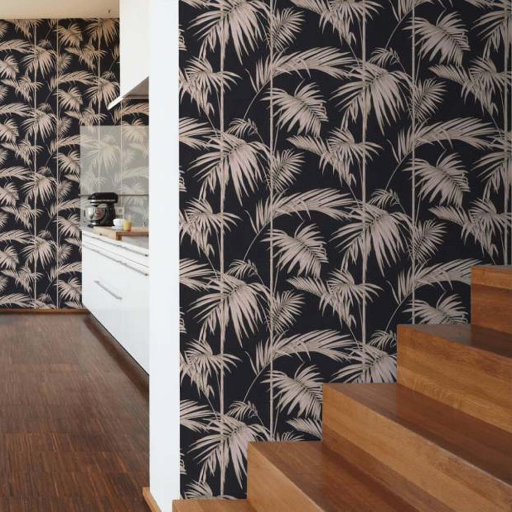Bamboo Leaf Wallpaper in Pink, Gold and Black - Your 4 Walls