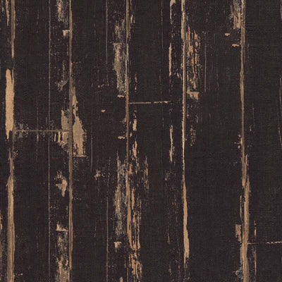 Reclaimed Textured Wood Effect Wallpaper in Black - Your 4 Walls