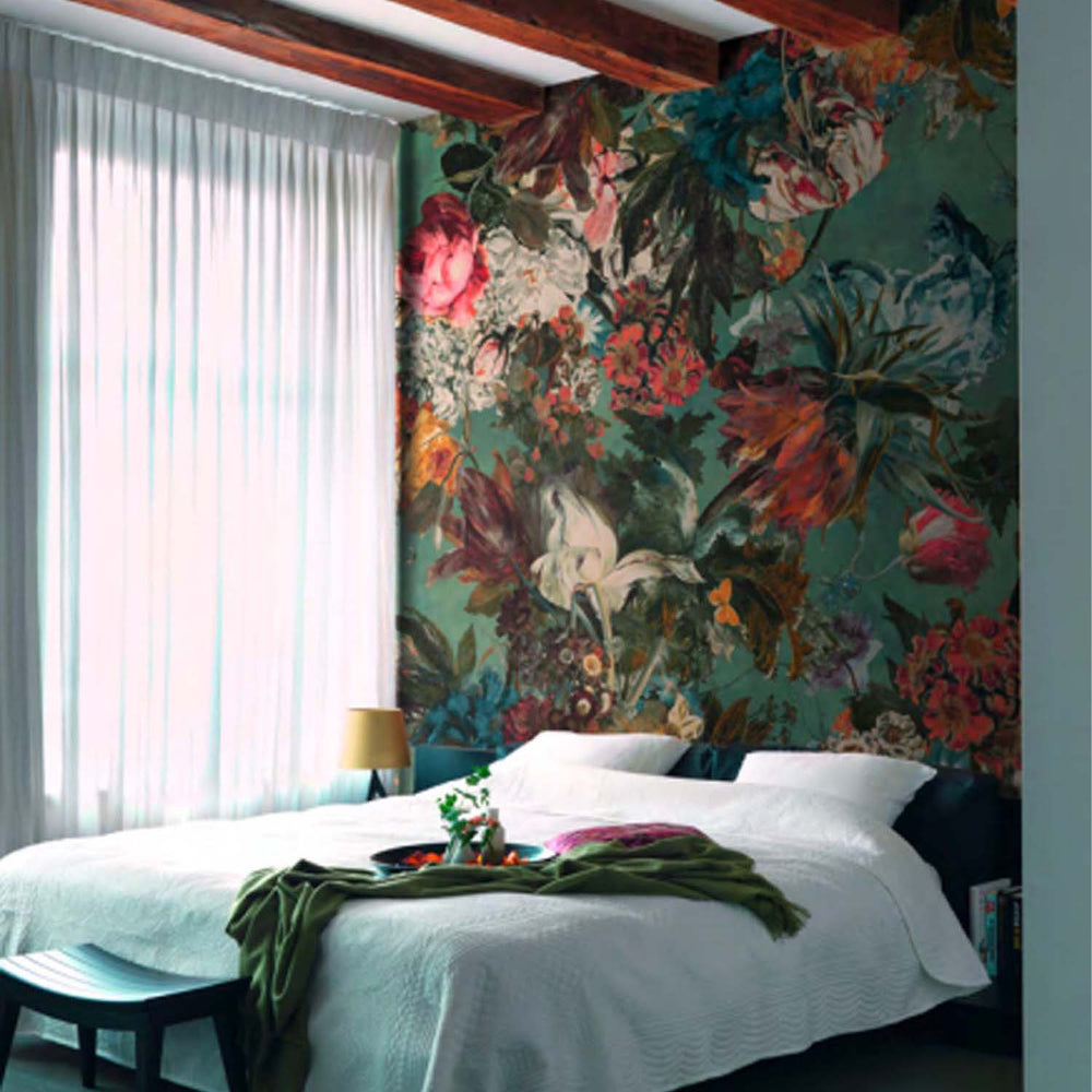 Floral Bloom Wallpaper Mural in Green, Pink & White - Your 4 Walls