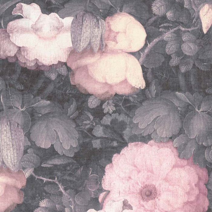 Bloom Floral Canvas Effect Wallpaper | Blush Pink & Grey