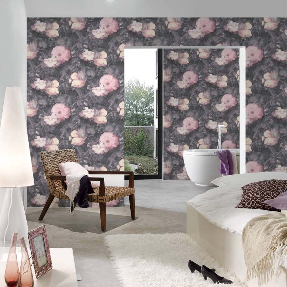 Bloom floral canvas effect wallpaper blush pink grey your 4 walls