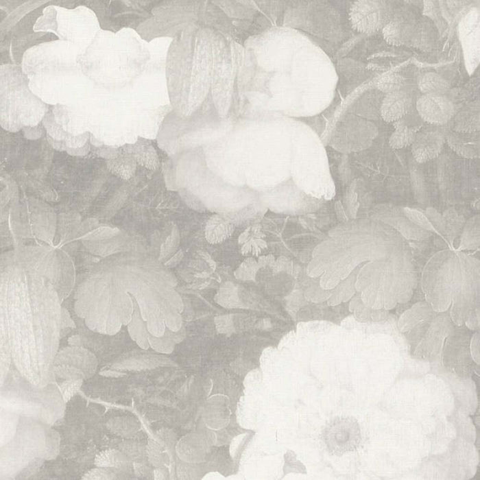 Bloom Floral Canvas Effect Wallpaper | Grey & White
