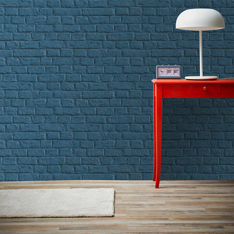 Painted Brick Wall | Blue Brick Effect Wallpaper - Your 4 Walls