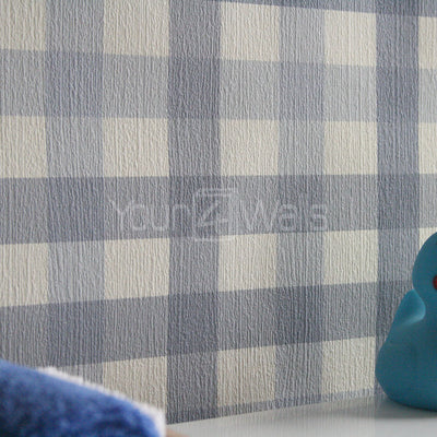 Gingham, Tartan, Checker Wallpaper in Blue Tones & White 2 x ROLLS FOR £12 - Your 4 Walls