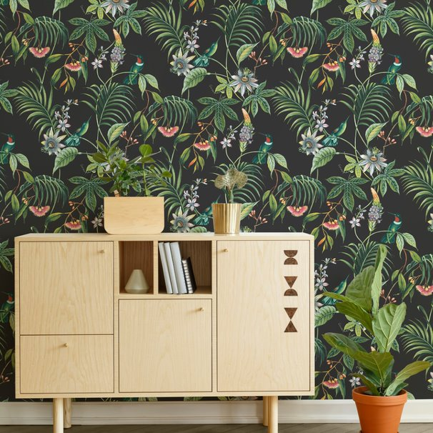 'Exotica' Floral and Bird Wallpaper in Green, Blue and Orange - Your 4 Walls
