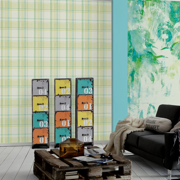 SALE Gingham / Checker Wallpaper | Turquoise & Green