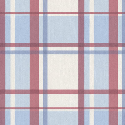 SALE LAST ROLL Gingham / Checker Wallpaper | Red & Blue - Your 4 Walls