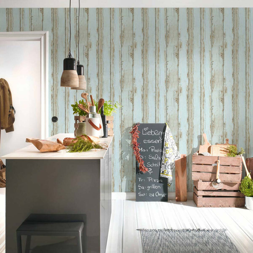 Reclaimed Textured Wood Effect Wallpaper in Light Blue - Your 4 Walls