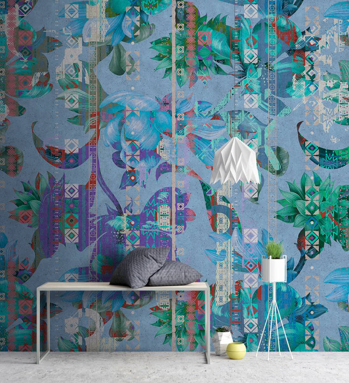 Urban Mosaic Floral Rug Wallpaper Mural in Blue, Green, Purple, Red & Turquoise