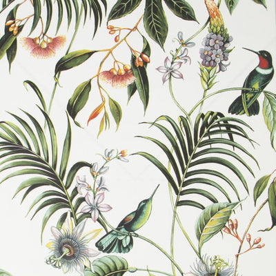 'Exotica' Floral and Bird Wallpaper in White, Green and Orange - Your 4 Walls