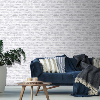 Brickhouse Brick Effect Wallpaper | White Grey Cream - Your 4 Walls