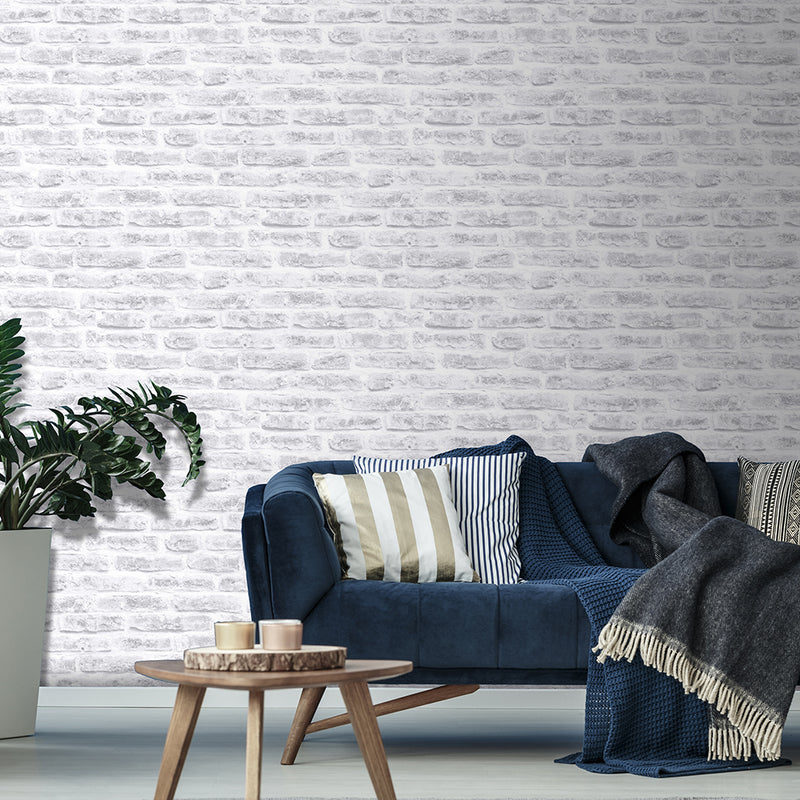 Brickhouse White Cream Grey Brick Effect Wallpaper - Your 4 Walls