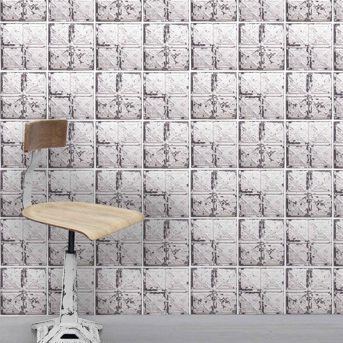 Exclusive 'Broadway' Tin Tile Effect Wallpaper | Cream, White & Grey
