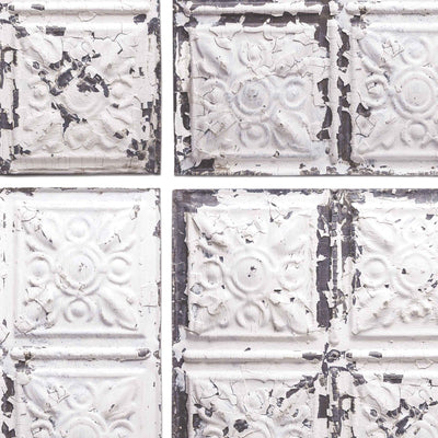 Exclusive 'Broadway' Tin Tile Effect Wallpaper | Cream, White & Grey - Your 4 Walls