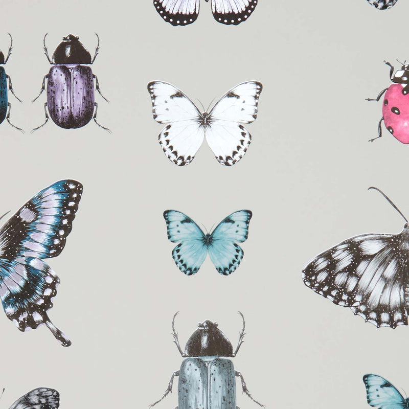 Papilio Traditional Insects & Butterflies  | Designer Motif Wallpaper in Teal & Gold/Silver - Your 4 Walls
