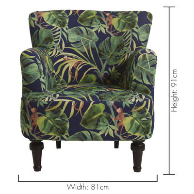 Clarke & Clarke Dalston Monkey Indigo Designer Accent Chair - Your 4 Walls