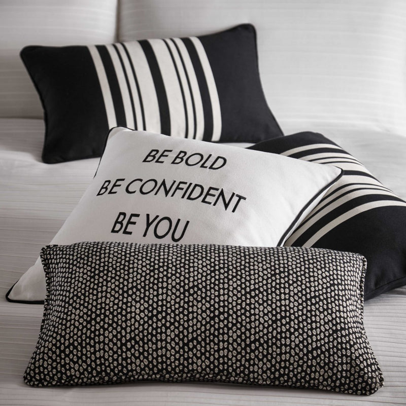 Karen Millen 'Dot Jacquard Boudoir' Designer Cushion in Black & White - Your 4 Walls