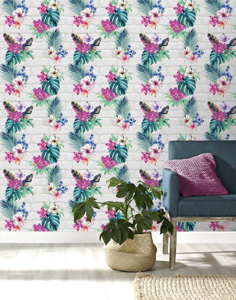 Floral Camden Brick Accessorize Wallpaper | White, Grey, Pink, Green & Blue - Your 4 Walls