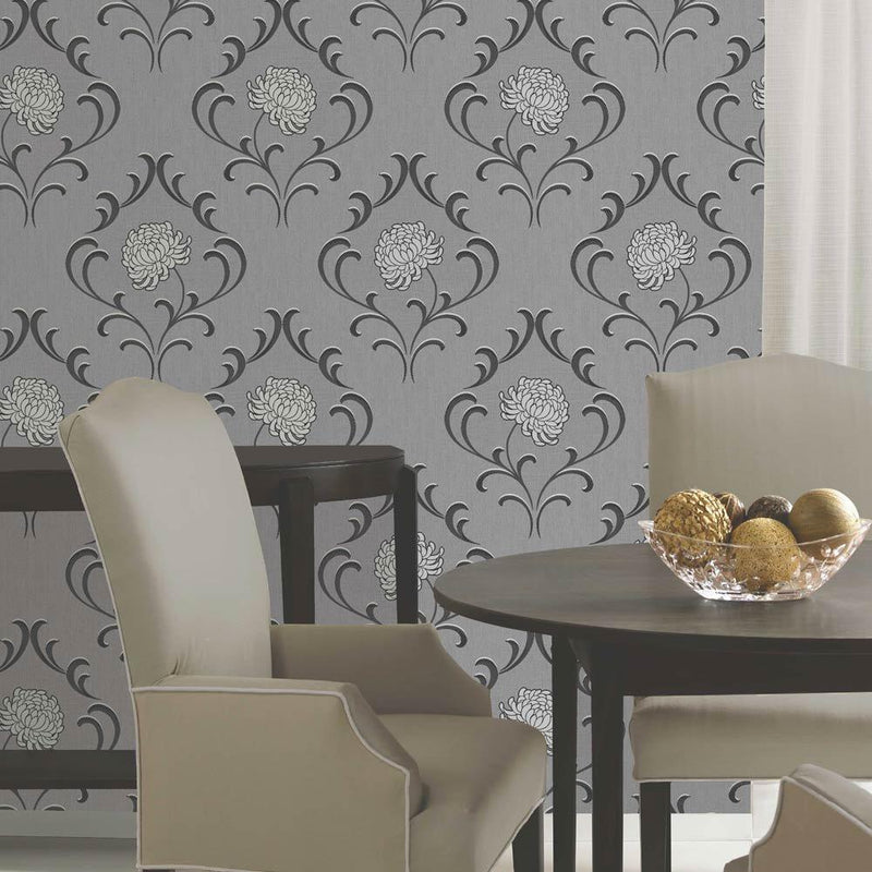 SALE LAST 2 ROLLS FOR 1 ORDER Cameo Floral Luxe Wallpaper | Silver, Grey, Black & White - Your 4 Walls
