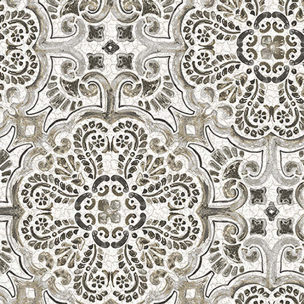 Casablanca Moroccan Mosaic Tile Effect Wallpaper in Charcoal & White - Your 4 Walls