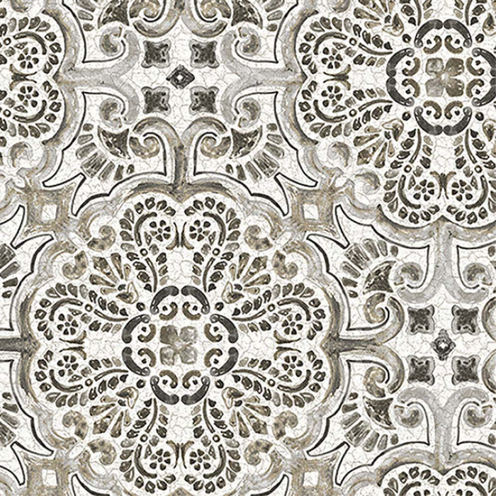 Casablanca Moroccan Hand Painted Mosaic Tile Effect Wallpaper | Grey, Charcoal, Taupe & White