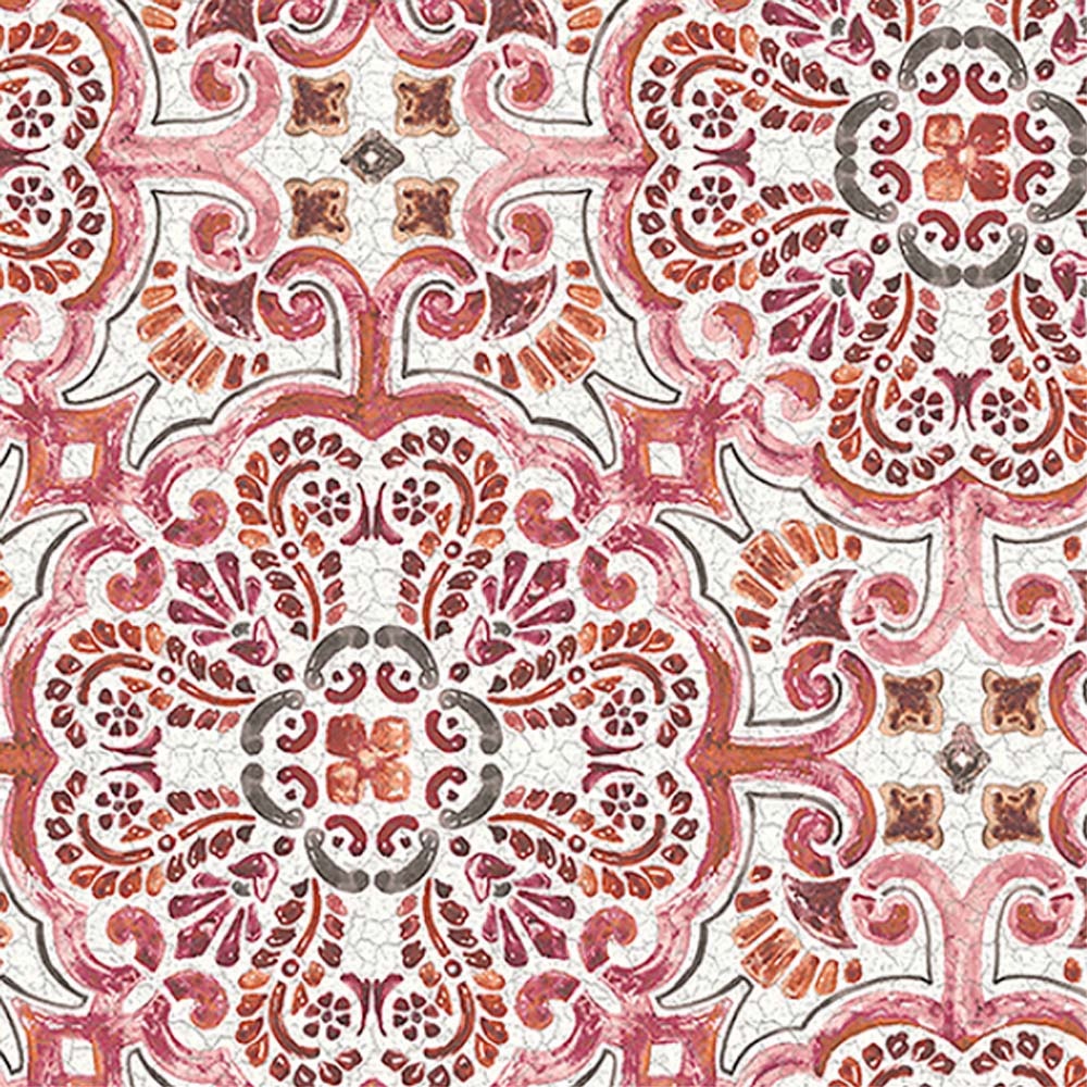 Casablanca Moroccan Mosaic Tile Effect Wallpaper In Pink