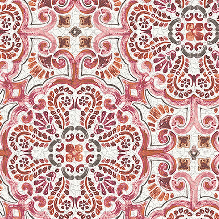 Casablanca Moroccan Hand Painted Mosaic Tile Effect Wallpaper | Pink, Red & Orange