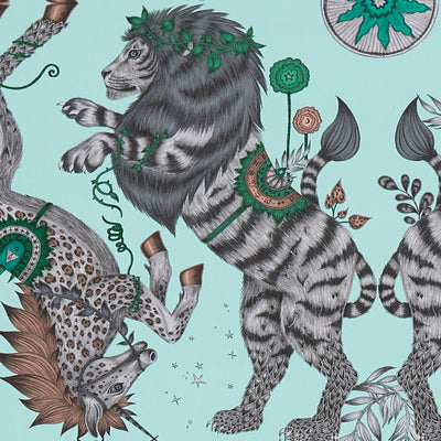 Caspia Lion Design wallpaper by Designer Emma J Shipley Animalia | Aqua - Your 4 Walls
