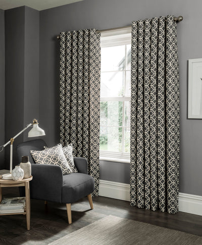 Clarke & Clarke 'Castello' Designer Curtains | Charcoal Two Toned Geometric Design - Your 4 Walls