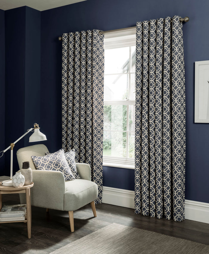 Clarke & Clarke 'Castello' Designer Curtains | Indigo Two Toned Geometric Design