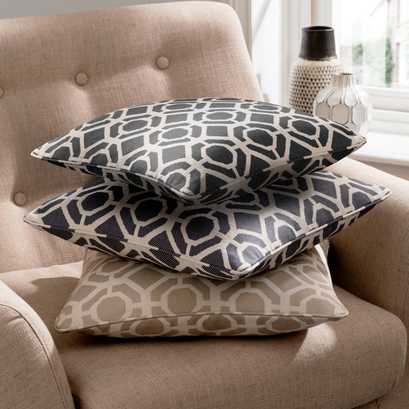 Clarke & Clarke Designer 'Castello' Cushion | Mushroom Two Tone Geometric Design